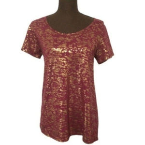 LulaRoe Maroon and Gold Classic Top